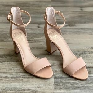 Vince Camuto Nude Corlina Ankle Strap Block Heel